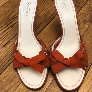 Red Coach kitten heels